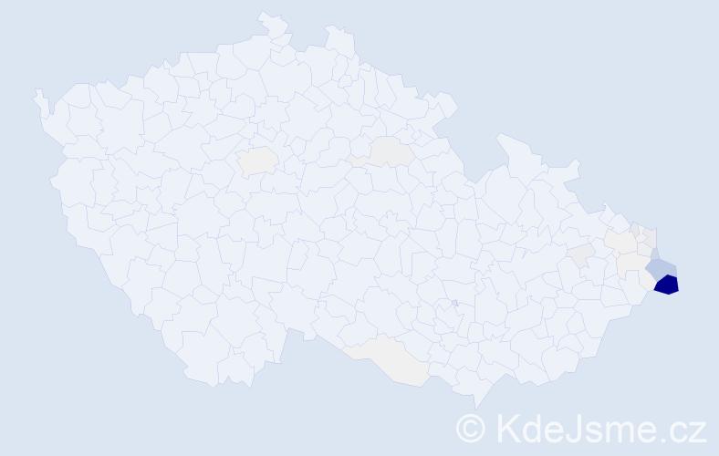 Příjmení: 'Ćmielová', počet výskytů 158 v celé ČR