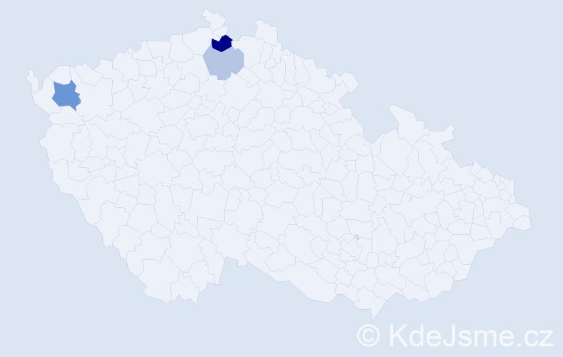 Příjmení: 'Čučman', počet výskytů 7 v celé ČR