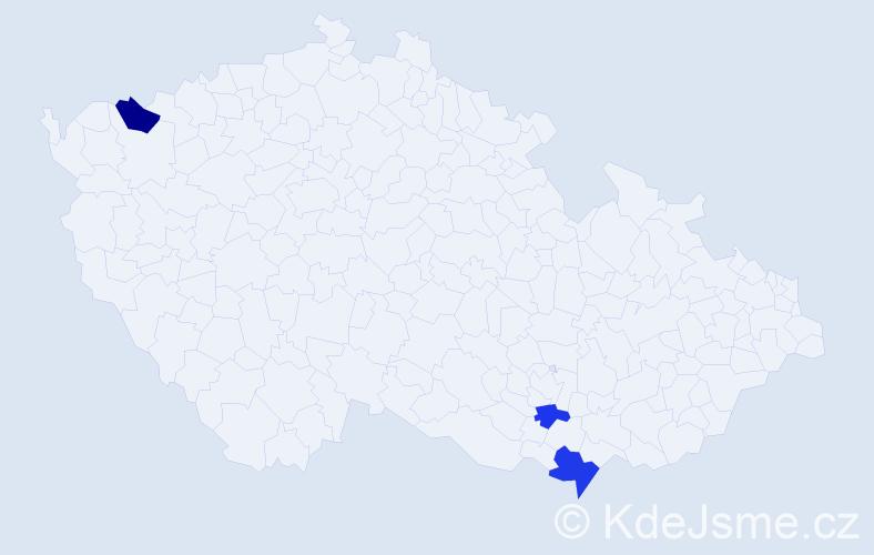 Příjmení: 'Kokrhel', počet výskytů 9 v celé ČR
