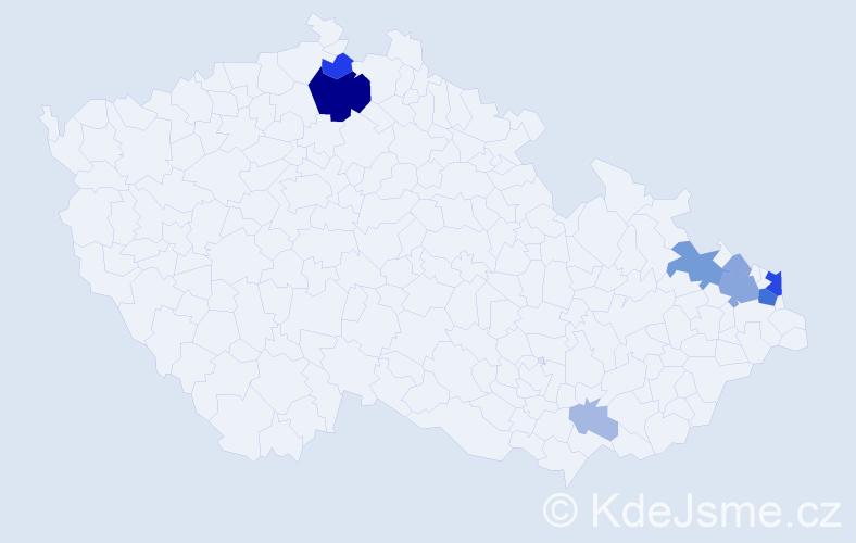 Příjmení: 'Kowal', počet výskytů 30 v celé ČR