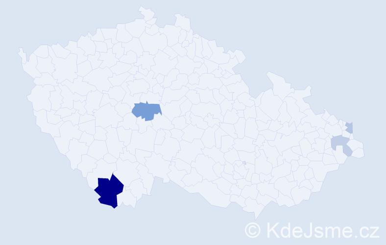 Příjmení: 'Badáň', počet výskytů 9 v celé ČR