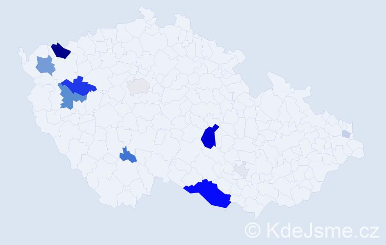 Příjmení: 'Frai', počet výskytů 30 v celé ČR