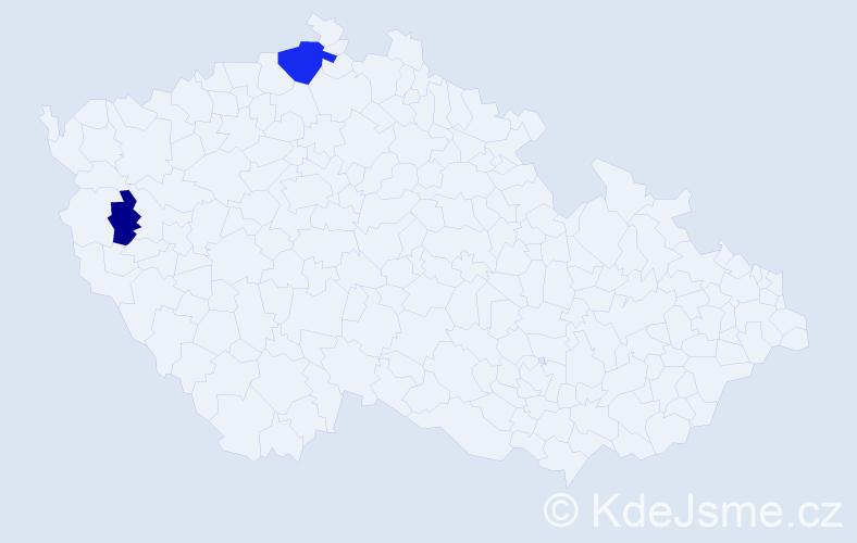 Příjmení: 'Cimpriková', počet výskytů 8 v celé ČR