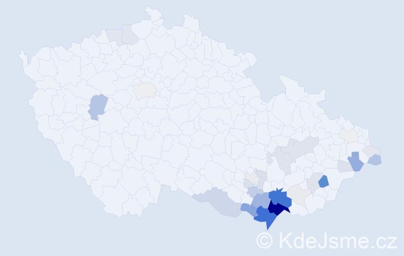 Příjmení: 'Esterka', počet výskytů 138 v celé ČR