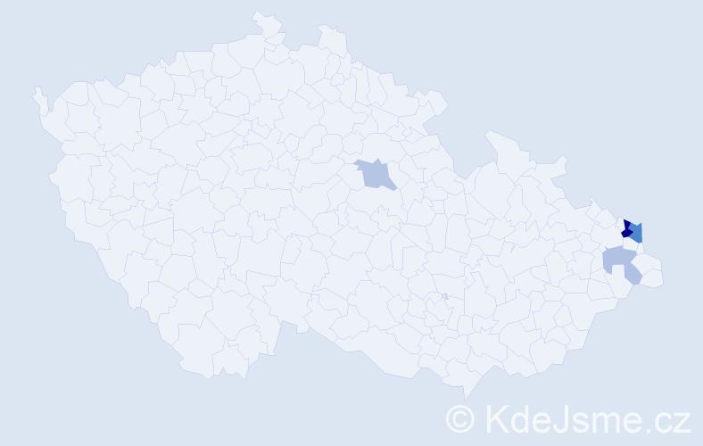 Příjmení: 'Kreheľ', počet výskytů 9 v celé ČR