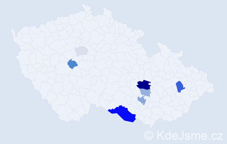 Příjmení: 'Háb', počet výskytů 23 v celé ČR