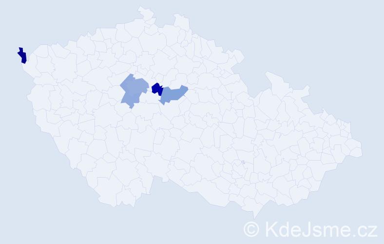 Příjmení: 'Čabartová', počet výskytů 11 v celé ČR