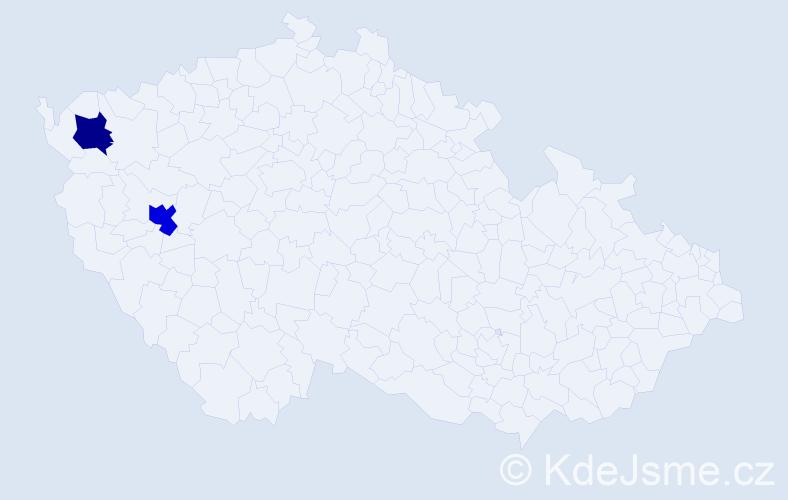 Příjmení: 'Herlička', počet výskytů 5 v celé ČR