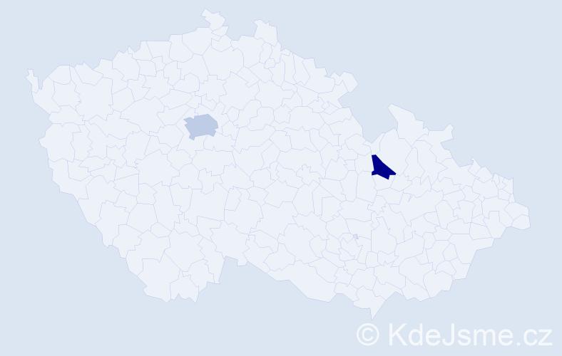 Příjmení: 'Gergeľová', počet výskytů 3 v celé ČR