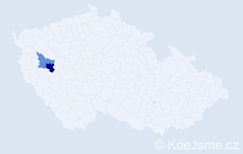 Příjmení: 'Jarenová', počet výskytů 7 v celé ČR