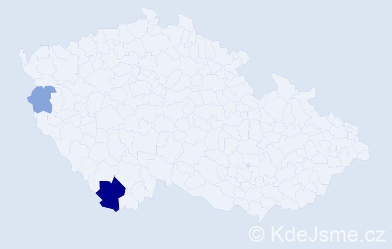Příjmení: 'Isajenko', počet výskytů 7 v celé ČR