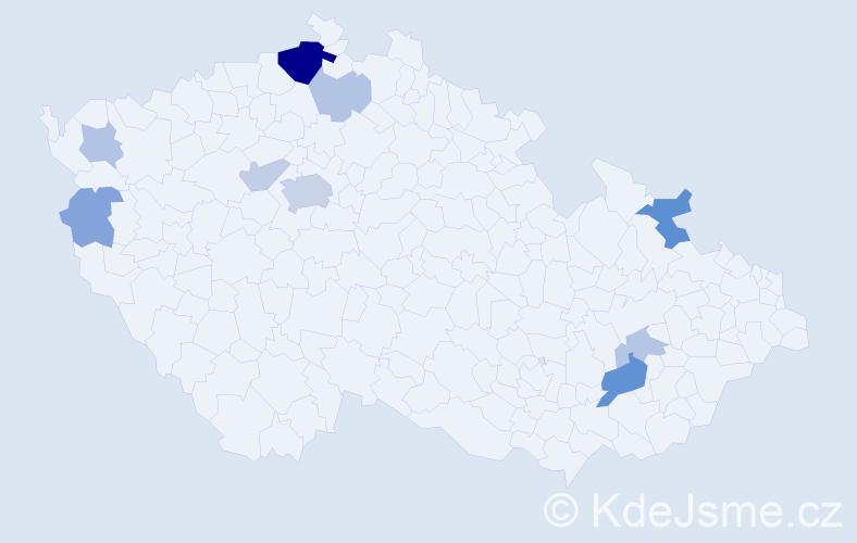 Příjmení: 'Gaudek', počet výskytů 24 v celé ČR