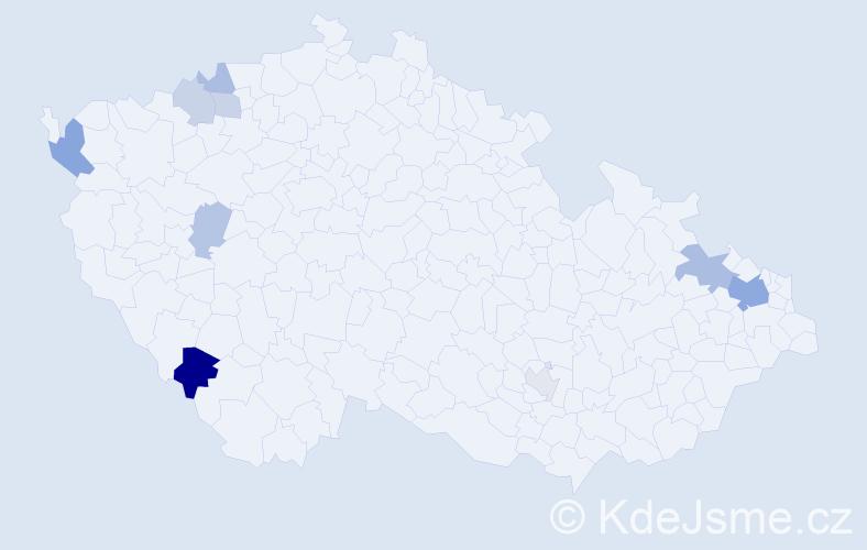 Příjmení: 'Janotta', počet výskytů 19 v celé ČR