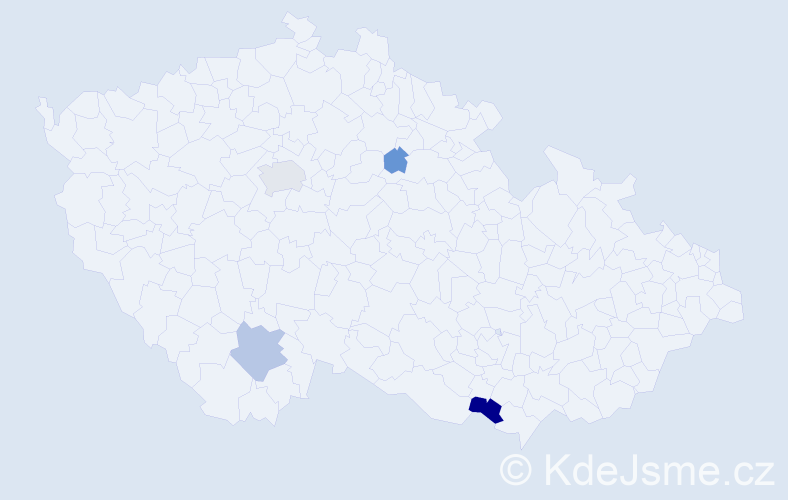 Příjmení: 'Janakiev', počet výskytů 9 v celé ČR