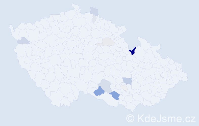 Příjmení: 'Kisela', počet výskytů 21 v celé ČR