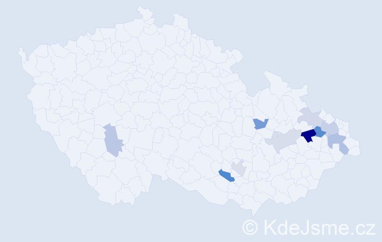 Příjmení: 'Gajdičiar', počet výskytů 18 v celé ČR
