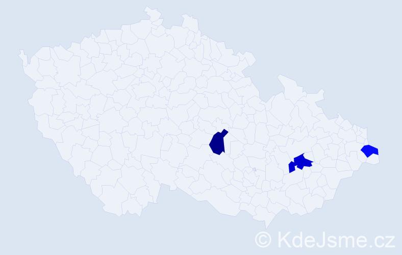 Příjmení: 'Čádek', počet výskytů 7 v celé ČR