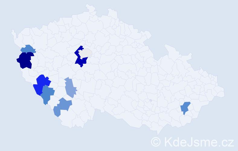 Příjmení: 'Klostermannová', počet výskytů 21 v celé ČR