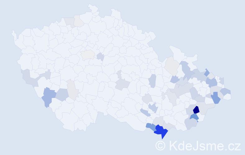 Příjmení: 'Hlavenka', počet výskytů 170 v celé ČR