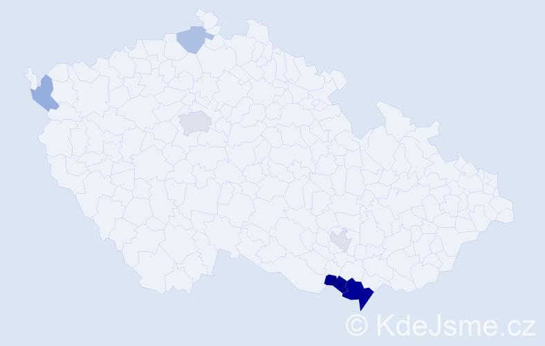 Příjmení: 'Časná', počet výskytů 14 v celé ČR