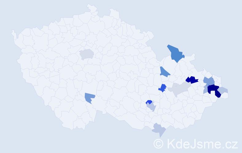 Příjmení: 'Čvandová', počet výskytů 45 v celé ČR