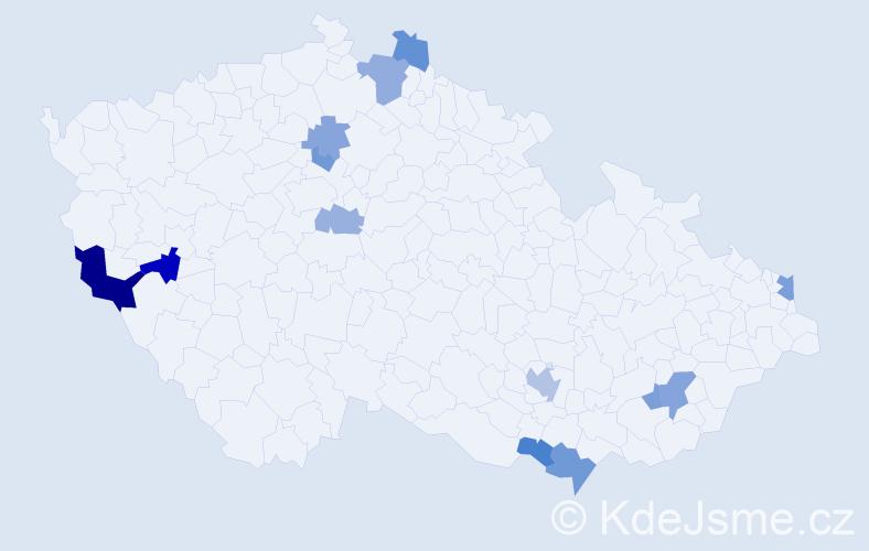 Příjmení: 'Hromník', počet výskytů 23 v celé ČR