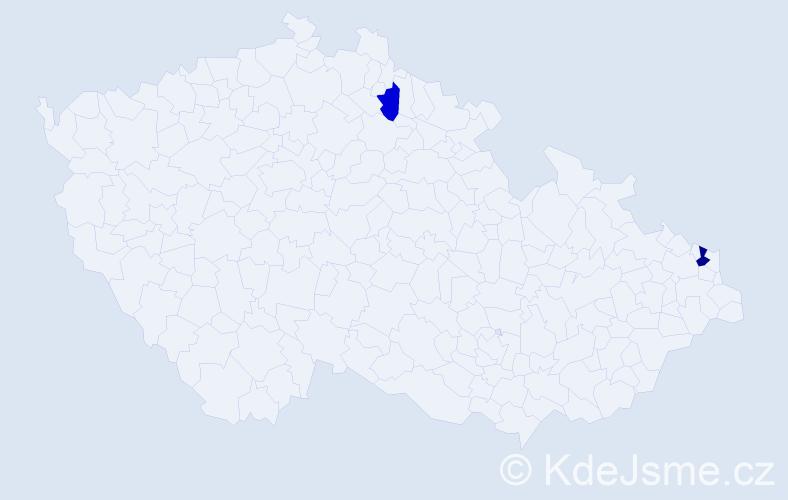 Příjmení: 'Czaja', počet výskytů 3 v celé ČR