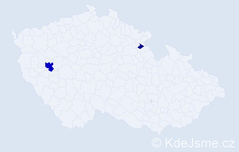 Příjmení: 'Goeslová', počet výskytů 9 v celé ČR