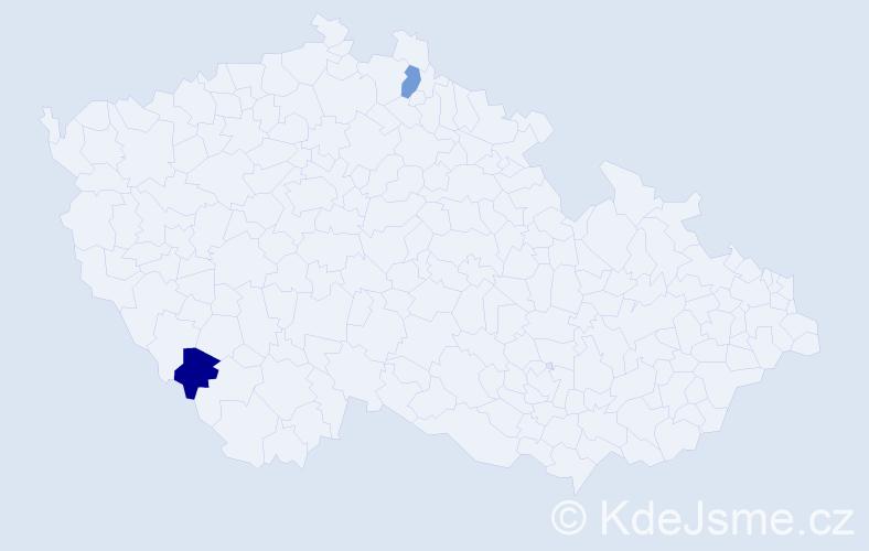 Příjmení: 'Jozefik', počet výskytů 2 v celé ČR