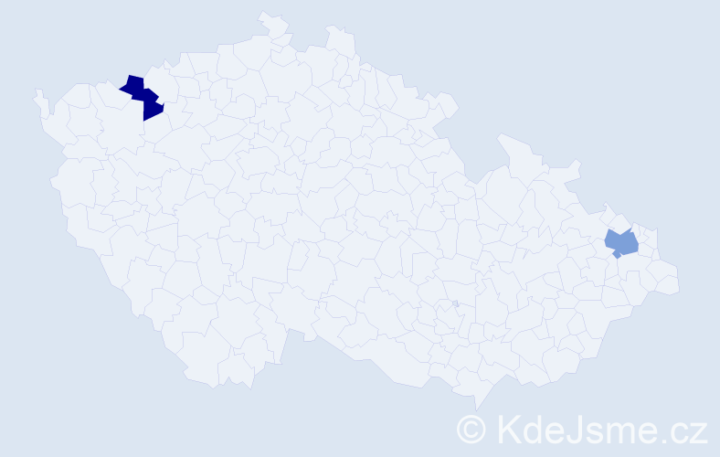 Příjmení: 'Hablawetzová', počet výskytů 9 v celé ČR