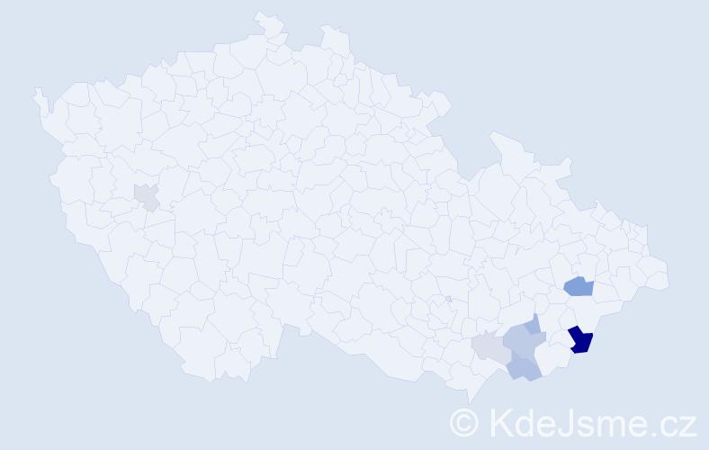 Příjmení: 'Cmajdálka', počet výskytů 23 v celé ČR