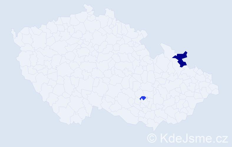 Příjmení: 'Koppiová', počet výskytů 4 v celé ČR