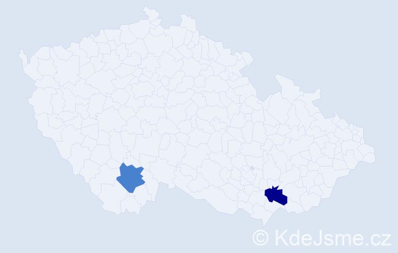 """Příjmení: '""""De Gier""""', počet výskytů 2 v celé ČR"""