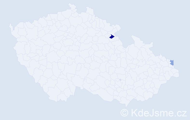 Příjmení: 'Kantoriková', počet výskytů 2 v celé ČR