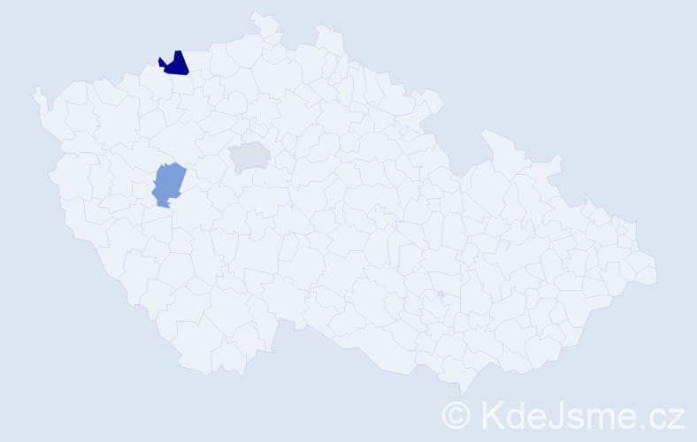 Příjmení: 'Gažúr', počet výskytů 6 v celé ČR