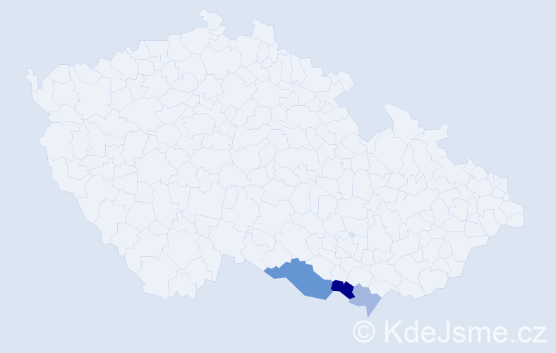 Příjmení: 'Běžek', počet výskytů 6 v celé ČR
