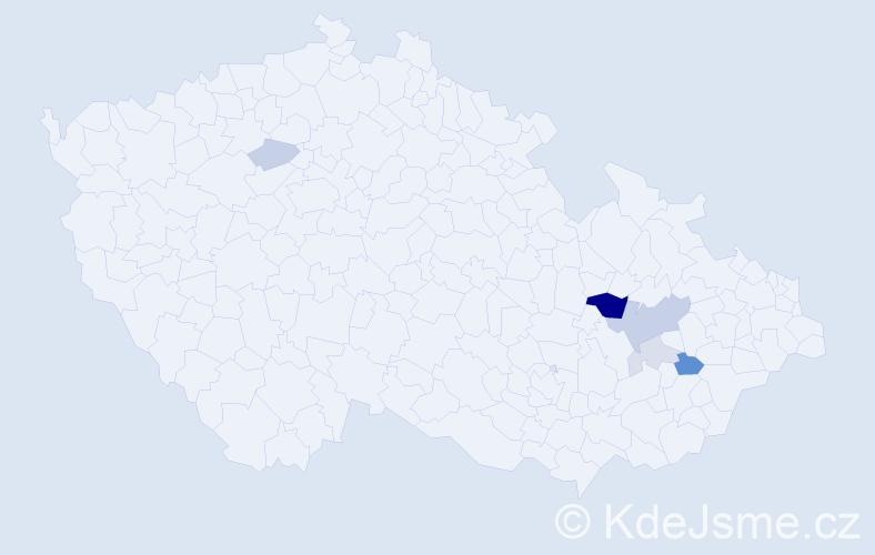 Příjmení: 'Kocvrlichová', počet výskytů 14 v celé ČR