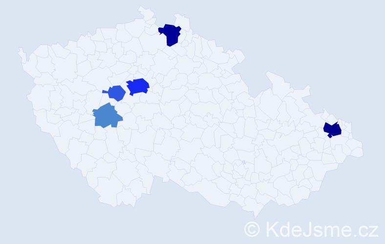 Příjmení: 'Hyan', počet výskytů 25 v celé ČR