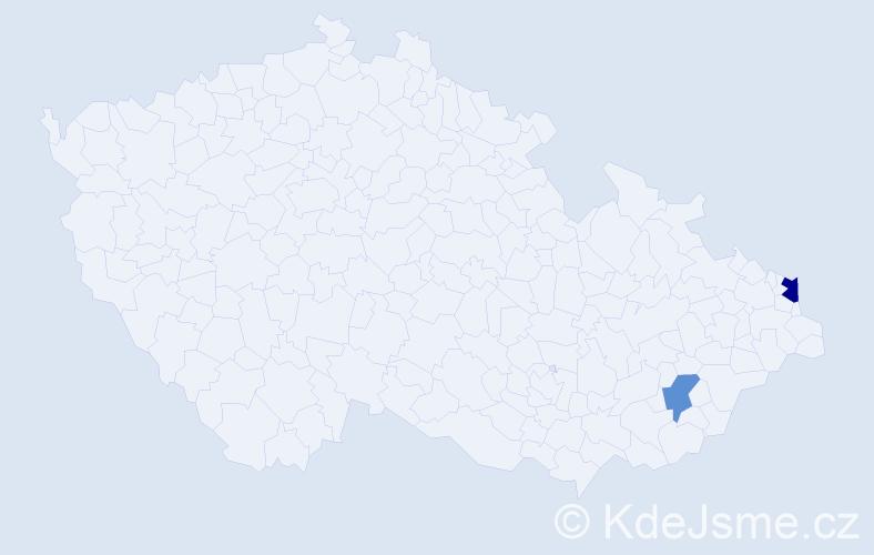 Příjmení: 'Infner', počet výskytů 3 v celé ČR