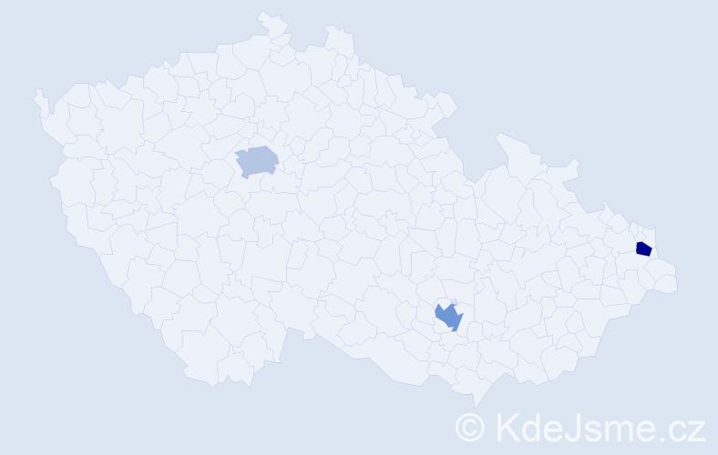 Příjmení: 'Bendíček', počet výskytů 3 v celé ČR
