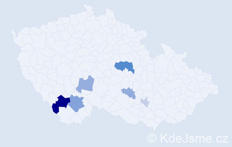 Příjmení: 'Fackenberg', počet výskytů 20 v celé ČR