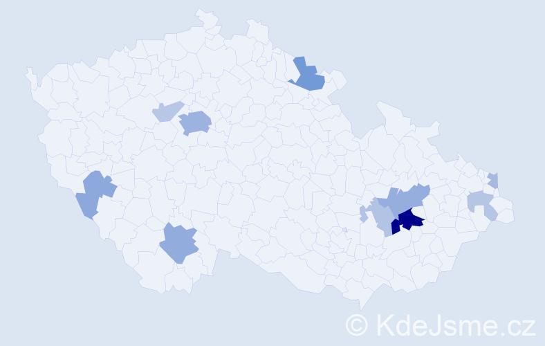 Příjmení: 'Hager', počet výskytů 29 v celé ČR