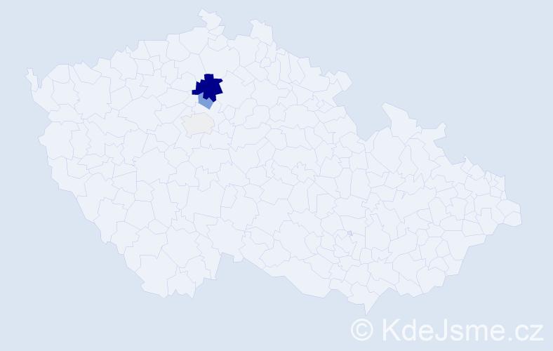 Příjmení: 'Čotiová', počet výskytů 13 v celé ČR