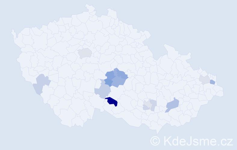 Příjmení: 'Jakšlová', počet výskytů 26 v celé ČR