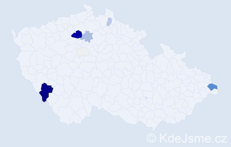 Příjmení: 'Kunský', počet výskytů 16 v celé ČR