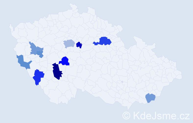 Příjmení: 'Čelakovská', počet výskytů 22 v celé ČR
