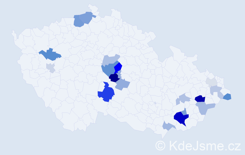 Příjmení: 'Bičánková', počet výskytů 36 v celé ČR