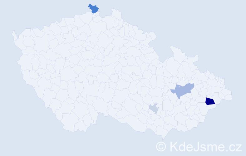 Příjmení: 'Ekmajer', počet výskytů 5 v celé ČR
