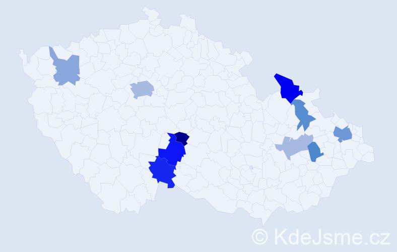 Příjmení: 'Burzová', počet výskytů 21 v celé ČR