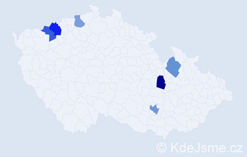 Příjmení: 'Andonovová', počet výskytů 9 v celé ČR